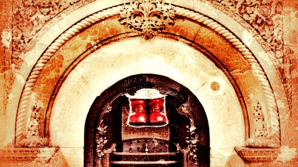 Santa's boots coming down a chimney