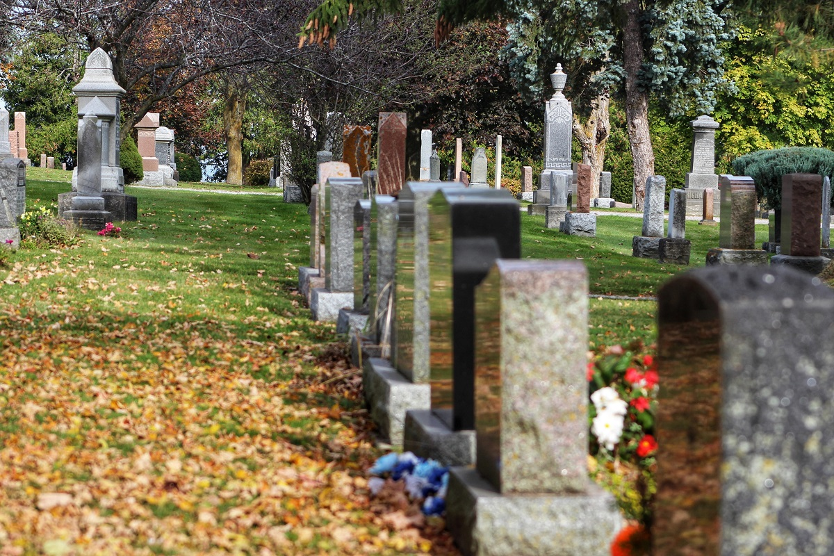 Cemetery in the fall with leaves