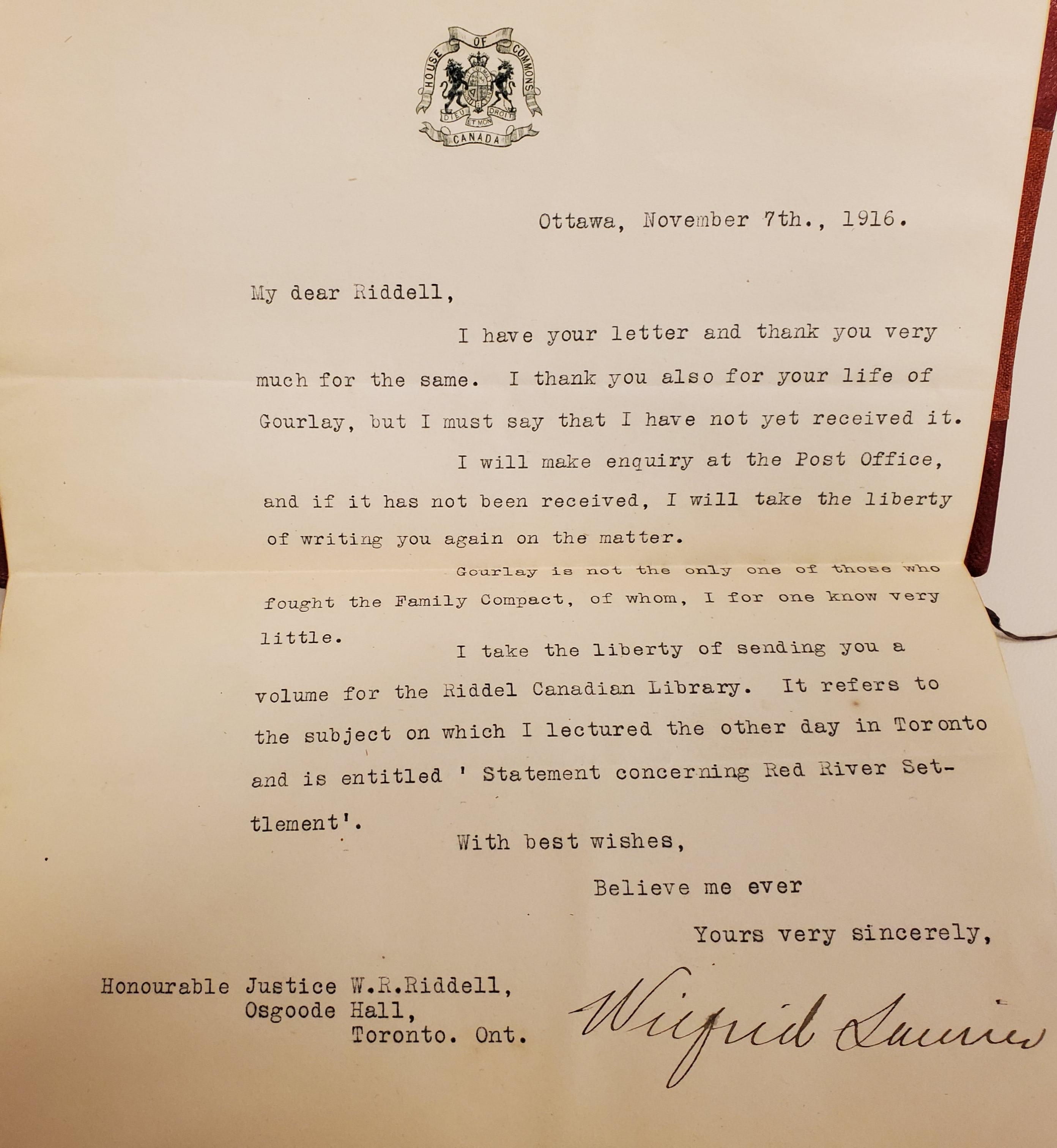 Wilfrid Letter