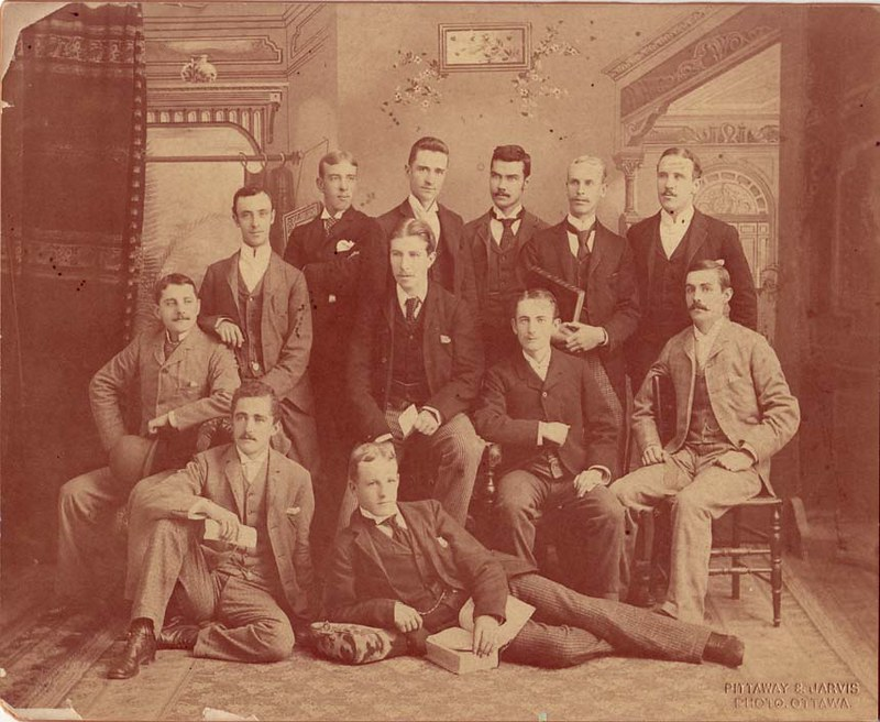 Picture of 12 articling students posing for a picture in the Ottawa area. Picture was taken around 1891 by Pittaway & Jarvis.