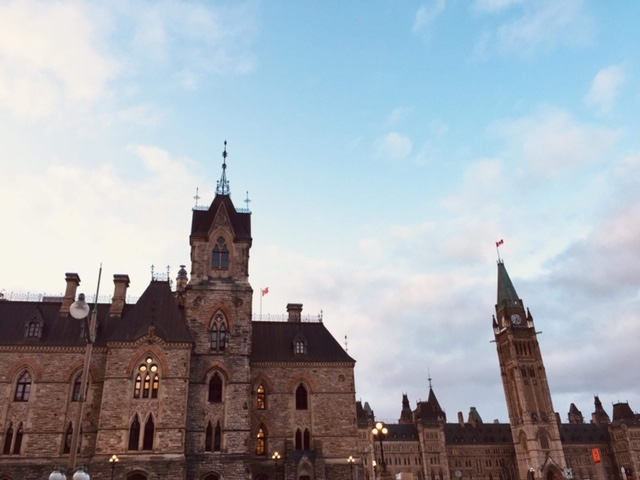 A picture of the Parliament buildings in Ottawa