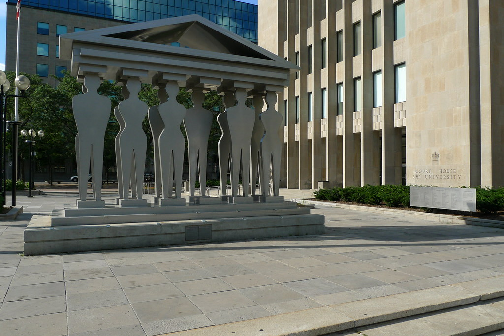 The Pillars of Justice sculpture in the McMurtry Gardens of Justice (Toronto, Ontario)